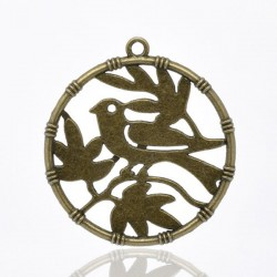 Breloque pendentif oiseau couleur bronze