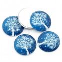Cabochons de Noël décoré 30 mm bleu