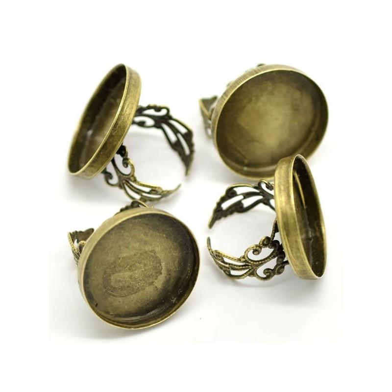 Bague support de cabochon couleur bronze