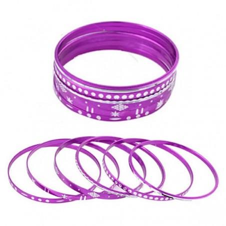 Ensemble de 6 bracelets violets et décors argent