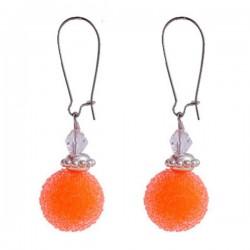 Boucles d'oreille orange  aspect givré et argent