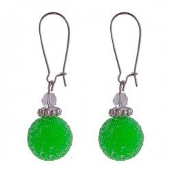 Boucles d'oreille verte  aspect givré et argent