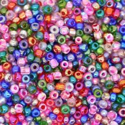 Perle de rocaille verre mélange rose, blanc, bleu nuit