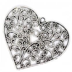 Pendentif coeur argent vieilli