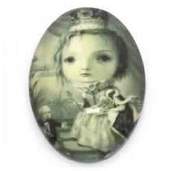 Cabochon décor d'une princesse 18 x 13 mm