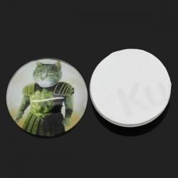 Cabochon rond décor d'un chat 25 mm
