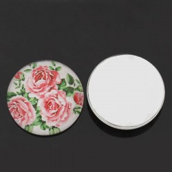 Cabochon rond décor de roses, vert, rose, blanc,  25 mm