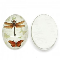 Cabochon décor papillons et libellule 25 x 18 mm