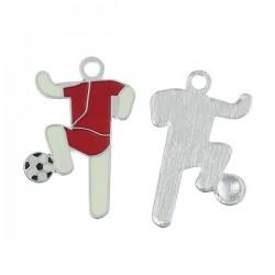 Breloque footballeur en métal couleur argent émaillé rouge blanc et noir
