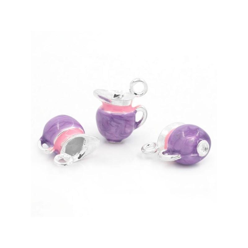 Breloque Pot à lait émaillée rose, violet et argent.