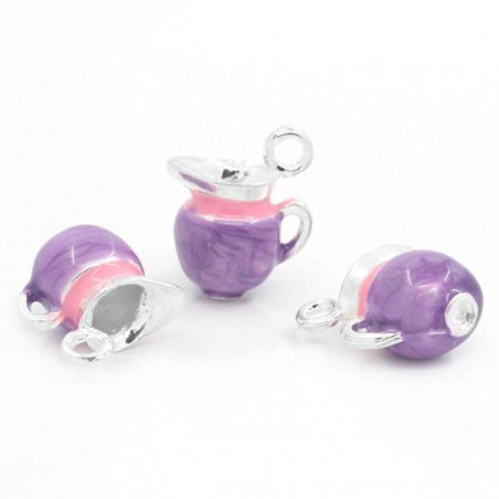Breloque Pot à lait émaillée rose, violet et argent. en volume 3 D