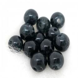 10 Perles noires craquelées 6 mm en verre