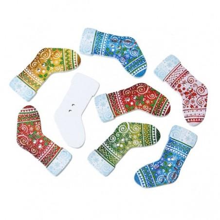 5 Boutons bois en  forme de chaussette 3,5 x 1,9  cm