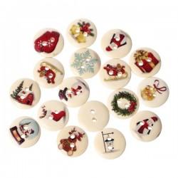 5 boutons bois décor fleurs rouges
