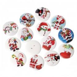 10 boutons bois décor Père-Noël, bonhomme de neige diam 25 mm