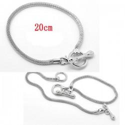 Bracelet charm métal argenté longueur 19 cm