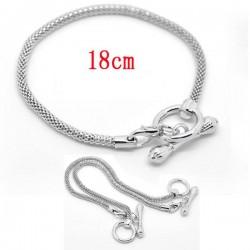 Bracelet charm métal argenté longueur 18 cm