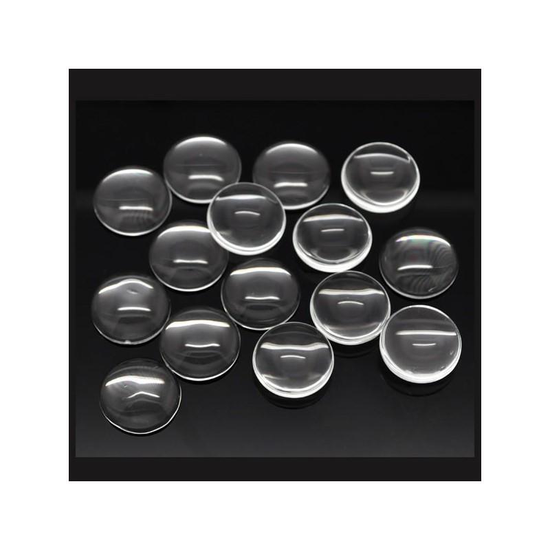 Cabochon verre transparent rond 18 mm