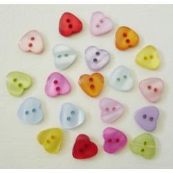 20 boutons coeur résine 12 x 11 mm