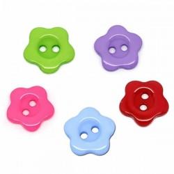 20 boutons fleurs résine 2 trous 14 mm