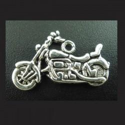 Breloque moto pendentif métal argenté