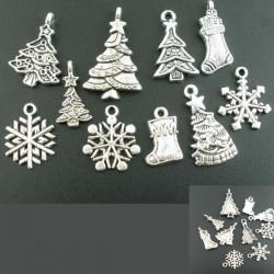 10 breloques Noël charm métal argenté