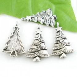 Sapin de Noël breloque de charme métal argenté