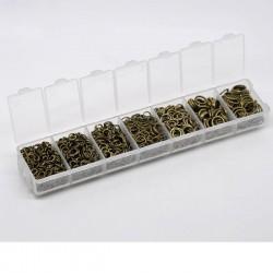 Boîte d'anneaux ouverts couleur argent 3 à 9 mm