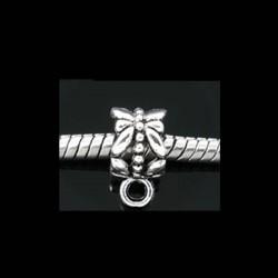Bélière de charme  décor cygne pour bijou européen couleur argent vieilli