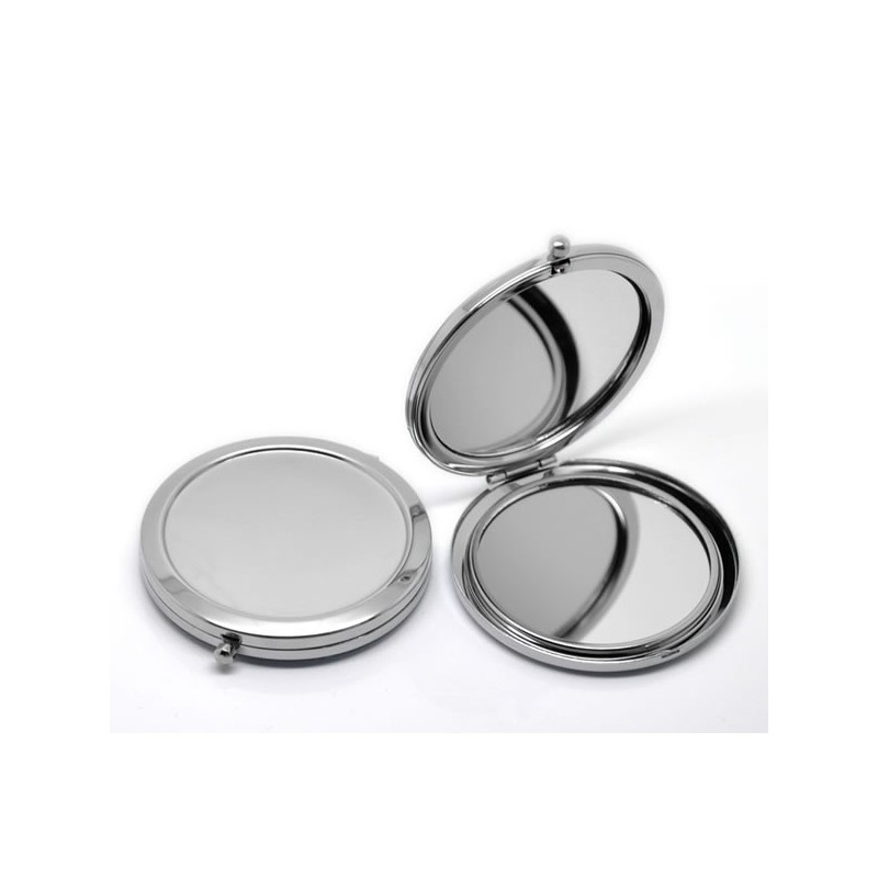 miroir de poche argent avec miroir grossissant
