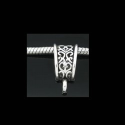 Bélière de charme triangle arabesque pour bijou européen couleur argent vieilli