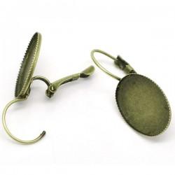 Paire boucle d'oreille support à cabochon 18 x 13 mm