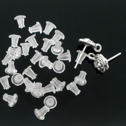 20 Embouts silicone 5 x 5 mm pour boucle d'oreille