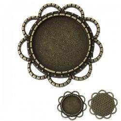 Support de cabochon, embellissement forme fleur 36 x 36 mm