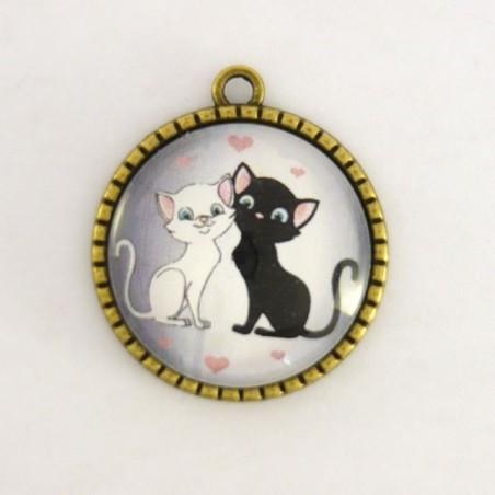 Cabochon chats amoureux noir et blanc