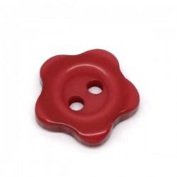 20 boutons fleurs rouge résine 2 trous 12 mm
