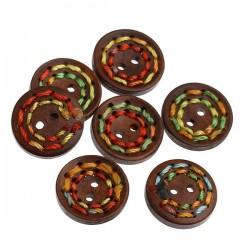 5 boutons bois, 20 mm, 2 trous décor fil couleur