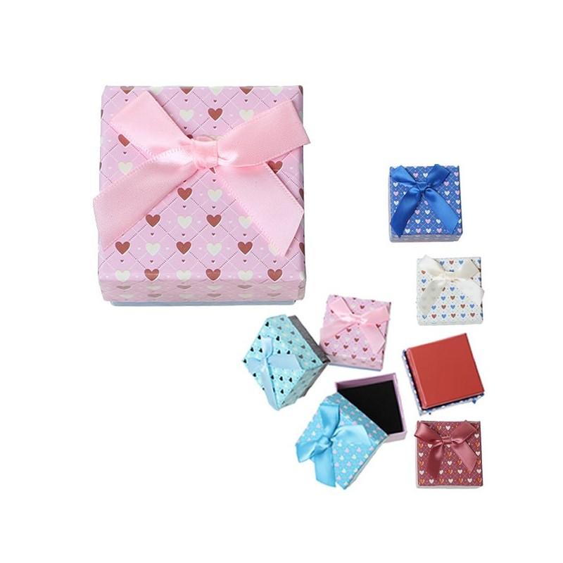 boite crin pour bijou rose carr e 4 5 cm coeurs roses. Black Bedroom Furniture Sets. Home Design Ideas
