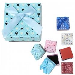 Boite écrin à bijou coeur bleu ciel carrée 4,5 x 4,5 cm