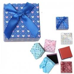 Boite écrin à bijou coeur bleu roi carrée 4,5 x 4,5 cm
