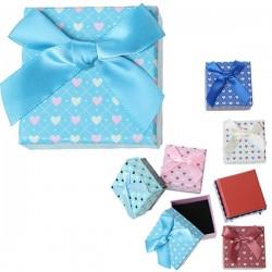 Boite écrin à bijou coeur turquoise carrée 4,5 x 4,5 cm