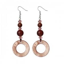 Boucles d'oreilles tons brun nacre et perles de verre