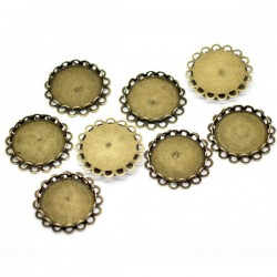 Suport de cabochons rond bordure ornementale Bronze 25 mm