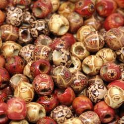 30 Perles bois en mélange 12 x 11