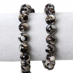 Perle ronde en coquille de nacre 10 mm noir blanc gris