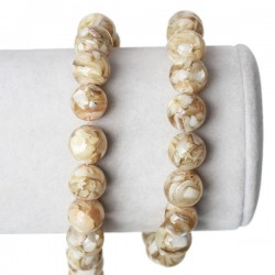 Perle ronde en coquille de nacre 10 mm noir blanc gris beige