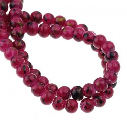 45 perles verre violet tacheté noir et or 4 mm