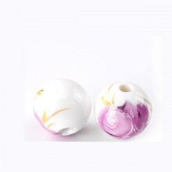 Perle en céramique décor mauve et blanc 12 mm