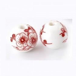 Perle en céramique décor  de fleurs rouge et blanc 12 mm