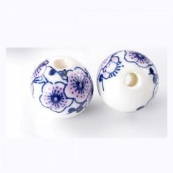 Perle en céramique décor  de fleurs bleu rose blanc 12 mm